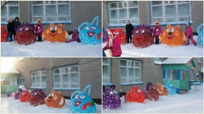 Смешарики из снега своими руками фото